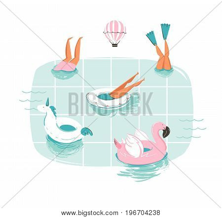 Hand drawn vector abstract cartoon summer time fun cartoon illustration with swimming people in swimming pool with hot air balloons isolated on white background.