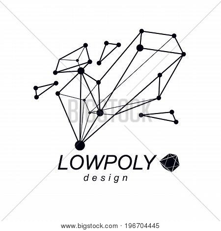 3d design abstract vector faceted shape. Technology and science conceptual emblem.