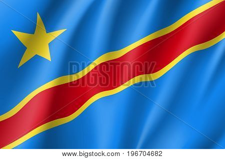Democratic Republic of the Congo flag. National patriotic symbol in official country colors. Illustration of Africa state waving flag. Realistic vector icon