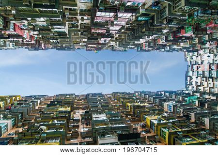 Colorful crowded apartment in quarry bay hong kong china