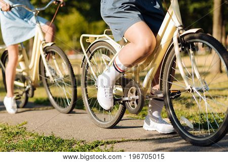 Active life. Close up of positive friends riding bicycles in the park while resting together ont he weekend