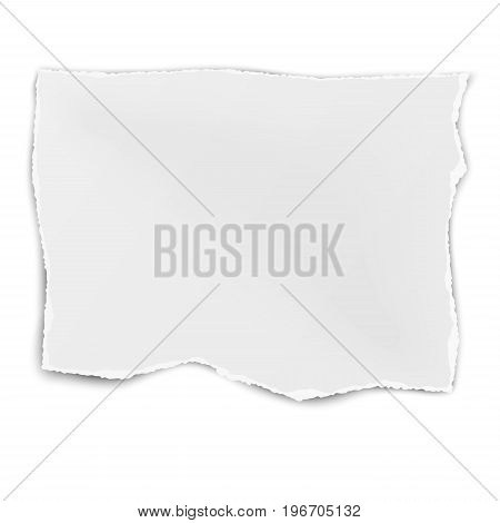 Square tattered paper wisp isolated on white background