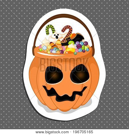 Halloween bucket filled with candy. Isolated white background. Sticker for your design . Stock vector.