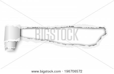Vector torn white sheet of paper with soft shadow paper curl and white background in the resulting hole. Template design.