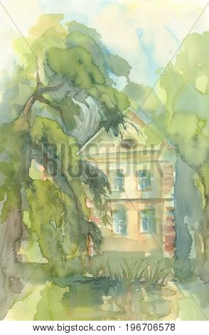 landscape with old house, cityscape, plein air, open-air watercolor