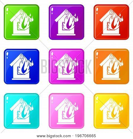 Preventing fire icons of 9 color set isolated vector illustration
