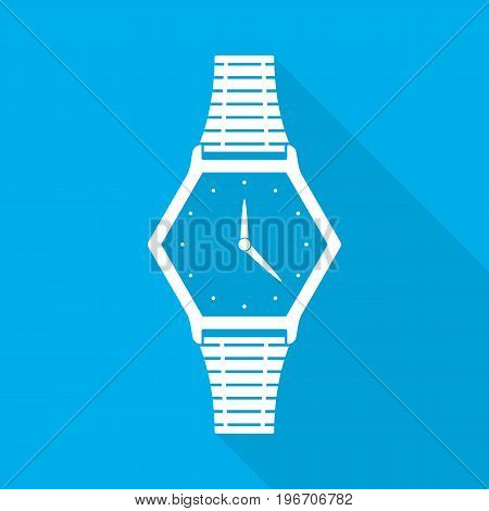 Wristwatch icon with arrows in flat design. Vector illustration. White wristwatch icon with long shadow on blue background.