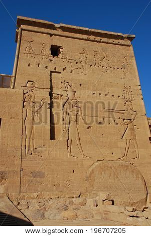The wall in temple of Philae, Egypt