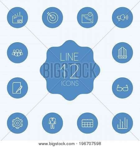 Collection Of Suit, Schedule, Calendar And Other Elements.  Set Of 12 Management Outline Icons Set.