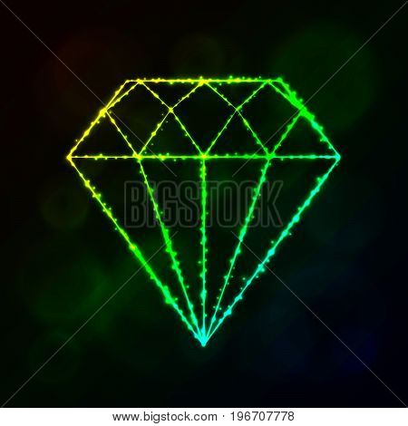 Diamond icon. Jewel symbol lights silhouette design on dark background. Vector illustration. Glowing Lines and Points. Gradient color.