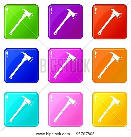 Firefighter axe icons of 9 color set isolated vector illustration