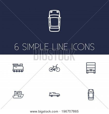 Collection Of Bike, Train, Lorry And Other Elements.  Set Of 6 Transport Outline Icons Set.