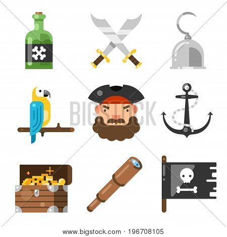 Pirates icon set. Adventure game with of hidden treasures, captain's hat, hook kid decoration. Vector flat style illustration isolated on white background