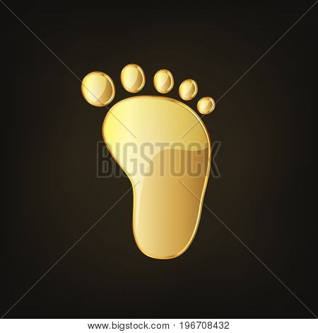 Golden baby footprints icon. Vector illustration. Golden glossy footprints of baby on dark background.