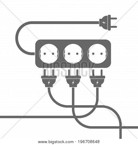 Power extension cord. Vector illustration. Gray extension cord with three wire plugs on white background.