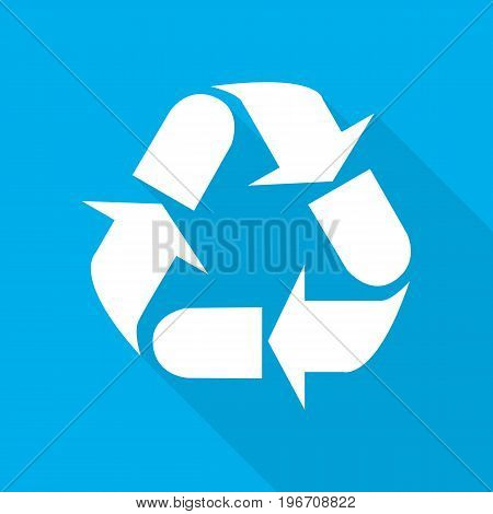 Recycle sign. Vector illustration. White recycle symbol with long shadow on blue background.