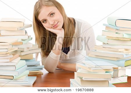 Student Teenager Woman With Books