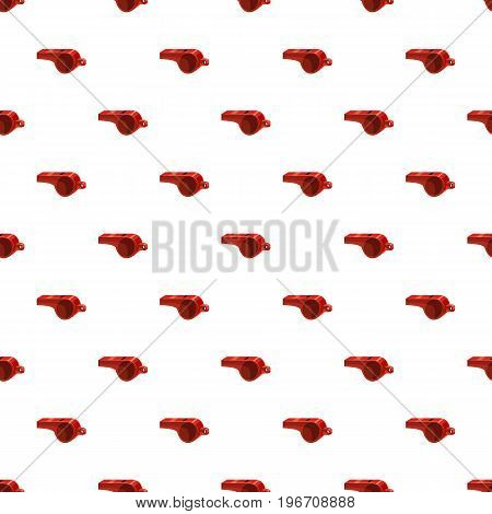 Red sport whistle pattern seamless repeat in cartoon style vector illustration