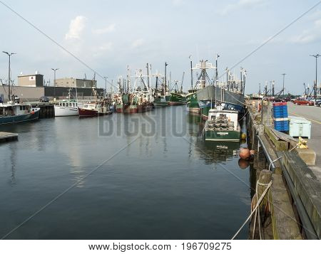 New Bedford Massachusetts USA - July 11 2017: Fishing vessels tied up on New Bedford waterfront