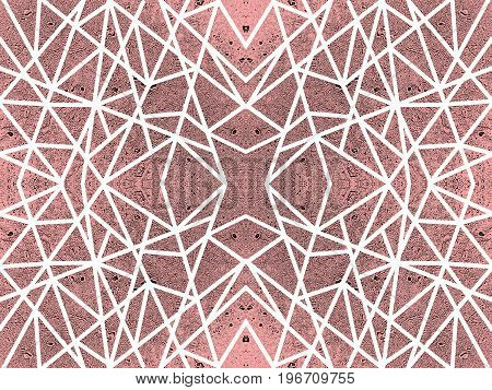 Ornamental red background with kaleidoscope effect. Abstract pattern of white crossed lines. Symmetric spiderweb effect. For modern technology design of leaflets, covers, wallpapers, websites, textile, giftwrap