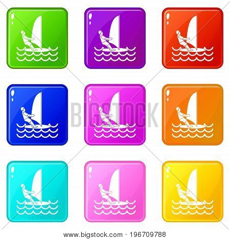 Man on windsurf icons of 9 color set isolated vector illustration