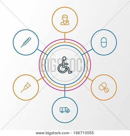 Medicine Outline Icons Set. Collection Of Disabled Person, Vitamin, Tablets And Other Elements