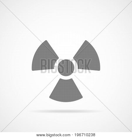 Danger radiation icon in flat design. Vector illustration. Gray symbol of radiation isolated on light background.