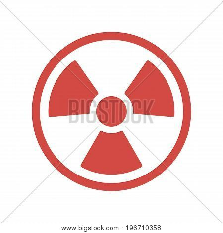 Danger radiation icon in flat design. Vector illustration. Red symbol of radiation isolated on white background.