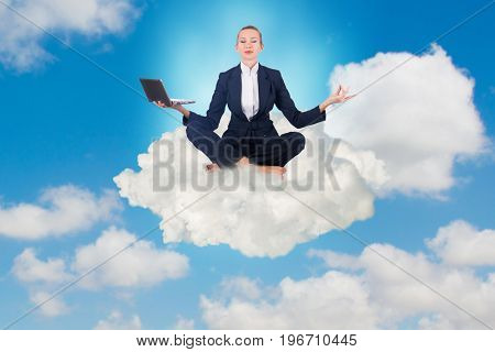 Businesswoman working in the sky and meditating