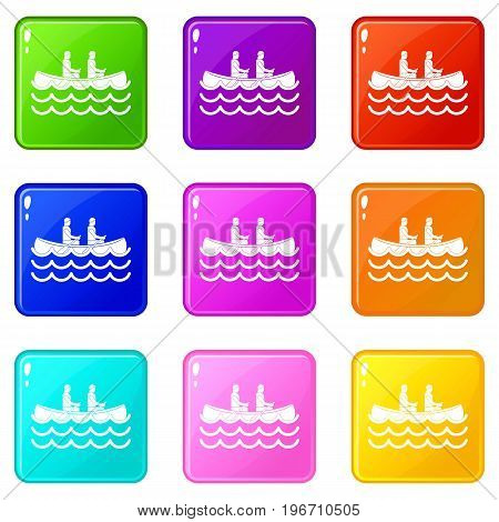 Canoeing icons of 9 color set isolated vector illustration