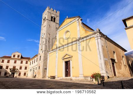 View of the The parish church of St. Stephen in Motovun Isttria. Croatia