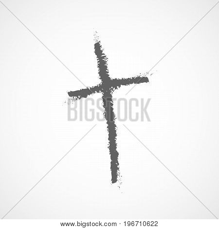 Hand drawn Christian cross icon. Vector illustration. Hand drawn gray grunge cross.