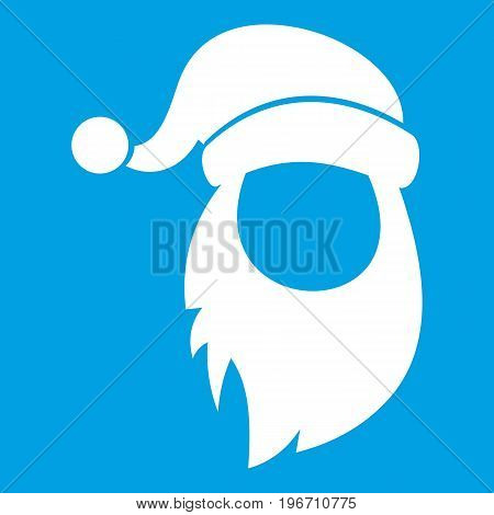 Cap with pompon of Santa Claus and beard icon white isolated on blue background vector illustration