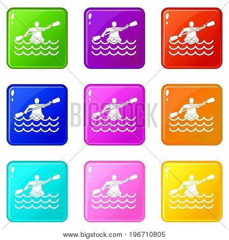Male athlete in a canoe icons of 9 color set isolated vector illustration