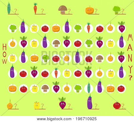 puzzle game, count the cute vegetables estimate, design, exam, school, application, task, product