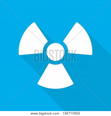 White radiation icon in flat design. Vector illustration. Symbol of radiation with long shadow on blue background.