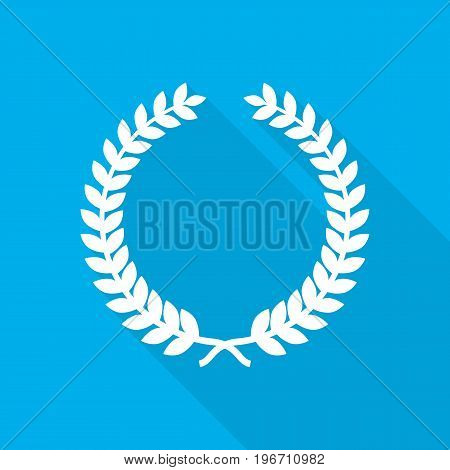 White laurel wreath icon in flat design. Vector illustration. Symbol of the laurel wreath with long shadow on blue background.