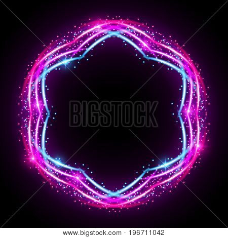 Abstract neon light effect on black background. Vector Illustration