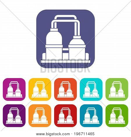 Oil processing factory icons set vector illustration in flat style in colors red, blue, green, and other