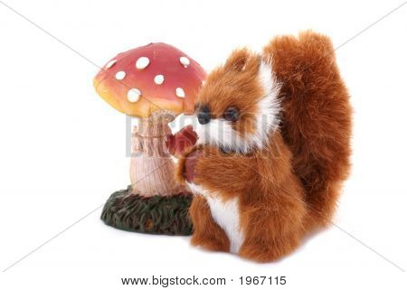 An isolated squirrel next to a toadstool. poster