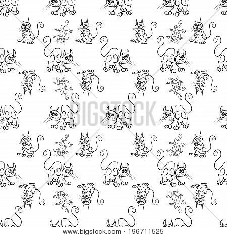 Vector seamless cat sketch pattern in different positions
