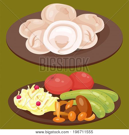 Traditional Russian cuisine and culture dish course food welcome to Russia gourmet national meal vector illustration. Homemade appetizer delicious culture plate lunch eating snack.