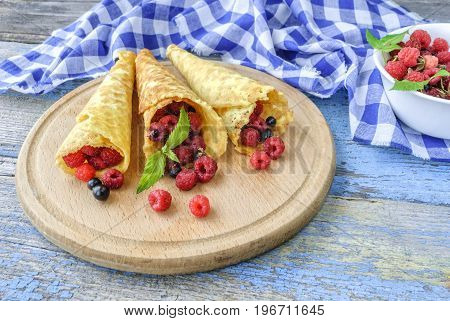 Waffle with fresh berries. Healthy food concept