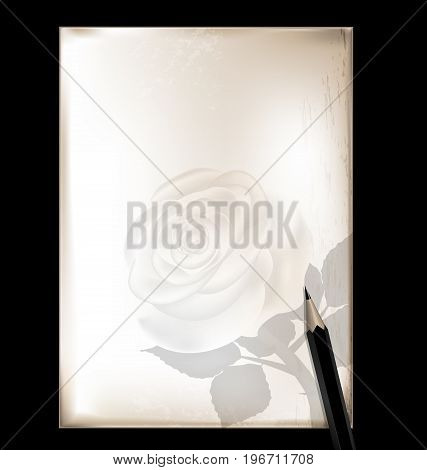 dark background retro stylized sheet of paper and old-fashioned writing pencil