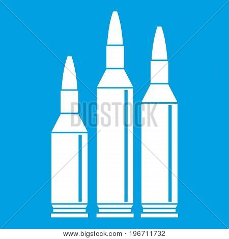 Bullet ammunition icon white isolated on blue background vector illustration