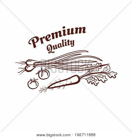 Premium Quality. Monochrome emblem isolated on white background. Can be used us labels or banners or stickers for organic shops and markets. Vector illustration.