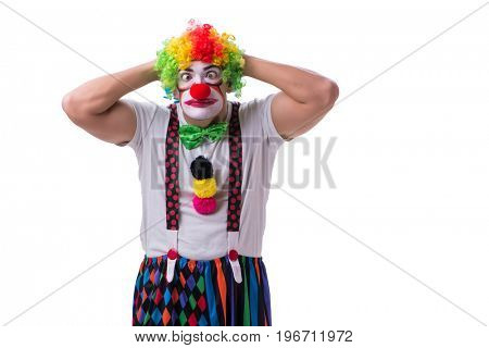 Funny clown acting silly isolated on white background