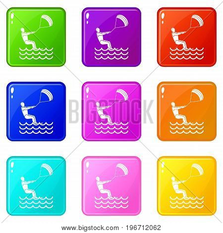 Man takes part at kitesurfing icons of 9 color set isolated vector illustration