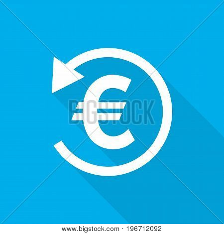 White refund money icon in flat design. Vector illustration. Symbol of refund money with long shadow on blue background.