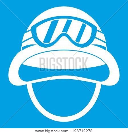Military metal helmet icon white isolated on blue background vector illustration